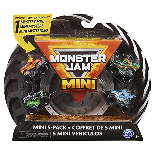 Monster Jam - Mini Monster Trucks da collezione ufficiale, confezione da 5 pezzi con 1 mistero camion, scala 1:87