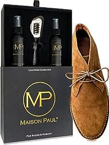 Kit para el cuidado de calzado de piel, ante y nubuck| Kit de betún universal para todos los colores de zapatos | Kit de productos de limpieza y accesorios | Caja de madera para almacenamiento