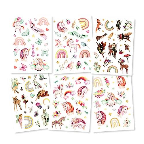 Pandawal® Tattoo für Kinder Tattoos 6er Set Mädchen Fee Regenbogen perfekt für Kindergeburtstag Party Mitgebsel Hautfreundliche Temporäre Kindertattoos