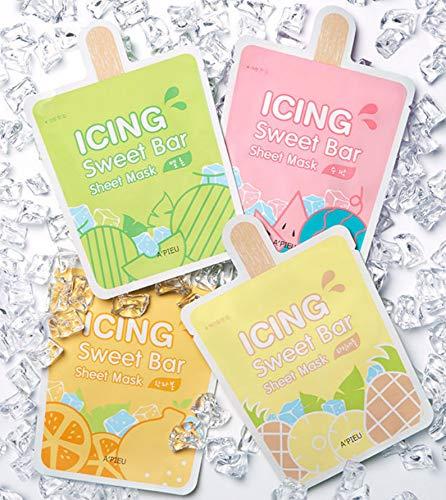 APIEU Icing Sweet Bar Sheet Mask Wassermelone Hanrabong Melone Ananas Gesichtsmaske SET 4pcs