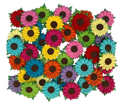 Sunflowers Mulberry Paper 125 x 125 inches Mixed Colors Paper Flowers with Brown Centre 50 Pcs  Best for Scrapbooking and Creative Craft Projects Mulberry Paper Flowers