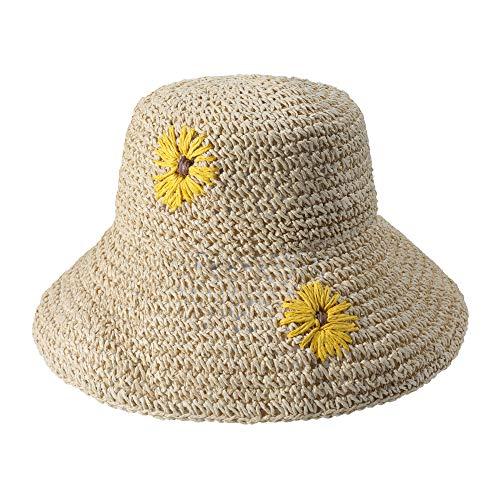 Women Wide Brim Floppy Sun Hat Foldable Summer Straw Hat Bucket Beach Hats (Sunflower Beige)