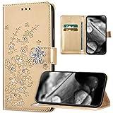 Étui de protection pour Huawei Y7P/P40 Lite E - Motif fleur de prunier - Diamant - Bling - En cuir synthétique - À rabat - Pour Huawei Y7P/P40 Lite E - Doré