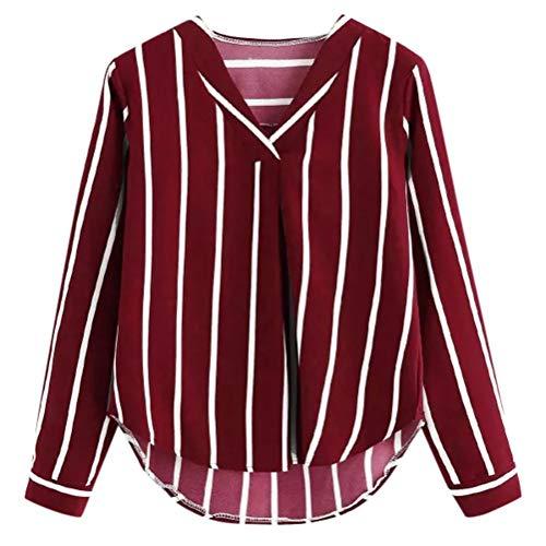 Frauen Vintage Langarmshirts Blusen FrüHling Umlegekragen Kleidung Gestreiften Asymmetrische Koreanische T-Shirt