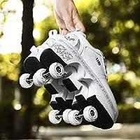 ローラースケートキッズ/ガールズ/レディース、2列スケート調節可能2 In1変形ローラースケートスポーツシューズパーフェクト屋内屋外大人用ローラー,White-EUR36