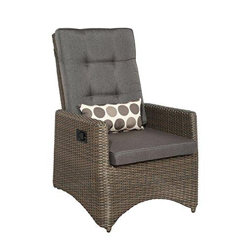 Siena Garden Loungesessel Teramo, 89,5x75x107cm, Gestell: Aluminium, Fläche: Gardino-Geflecht in bronze, Kissenbezug aus Polypropylen mit 280g/m² in grau-braun