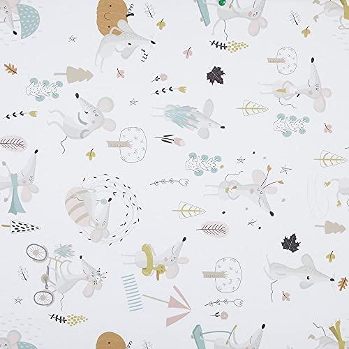 Kt KILOtela Tela de Patchwork - Estampación Digital - 100% algodón - Retal de 100 cm Largo x 140 cm Ancho | Ratoncitos - Rosa, Azul, Gris, Naranja ─ 1 Metro