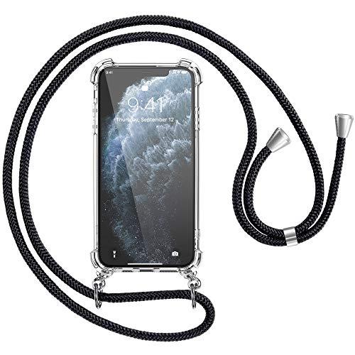 laxikoo Funda con Cuerda para iPhone 11 Pro (5,8''), Carcasa Transparente TPU Suave Silicona Case Cover Anti-Choque con Colgante Ajustable Collar Correa de Cuello Cadena Cordón para iPhone 11 Pro