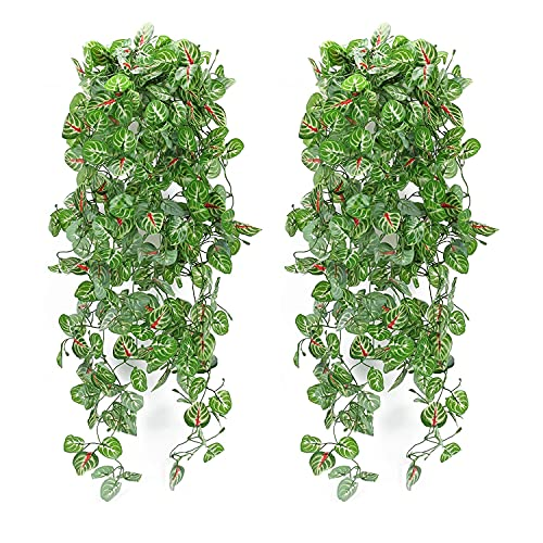 HUAESIN 2pcs Lierre Artificielle Exterieur Plantes Guirlande Vigne Deco de Feuilles de Lierre Intérieur Suspendus Mural Décorations de Mariage Noël pour la Maison Jardin Jardin Bureau Vert et Rouge