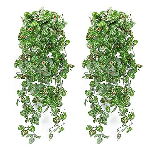HUAESIN 2pcs Planta Artificial Hiedra Colgante 110cm Hojas Guirnalda Verde Falsa Hiedra Plastico Enredadera Artificial Calathea Decoracion para Pared Hogar Porche Jardín Valla Exterior Interior
