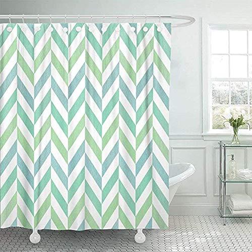 YUJEJ801 polyester douchegordijn 3D mintgroen blauw en strepen, waterdicht, anti-schimmel, milieuvriendelijk wasbaar, 180 x 180 cm met 12 ringen, badkamergordijn voor badkamer, badkuip, hoofddecoratie