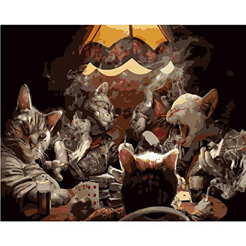 tuoweilai Pintura al óleo Dibujada a Mano Navidad Moderna del Gato Encantador DC614_ no Regalos de decoración de Halloween, Acción de Gracias, Navidad, Día de San Valentín, Día del Niño
