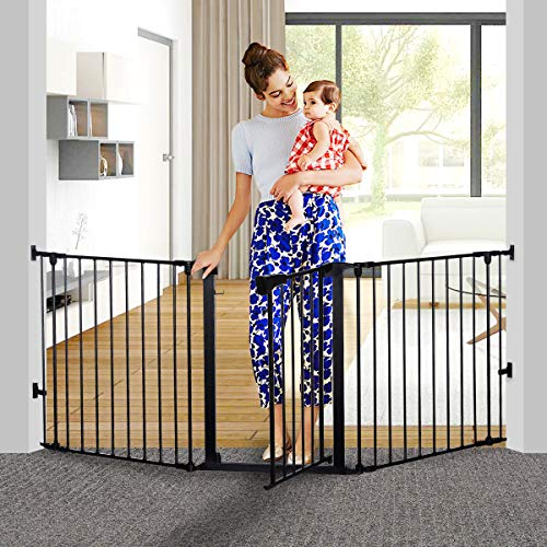 "KingSo 80 inch Auto Close Baby Gate Super Wide Safety Gate Foldable Extra Wide 33-80 inch Walk Thru for House Stair Doorways Hallways Include Hardware Mounts(30"" Tall, Black)"