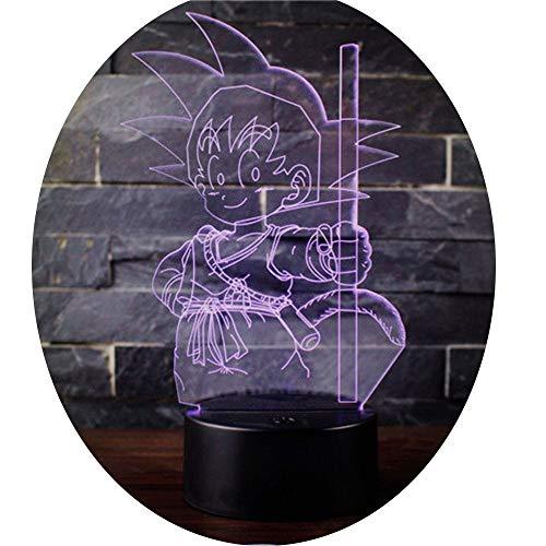 3D Lámpara óptico Illusions Luz Nocturna, CKW 7 Colores Cambio de Botón Táctil y Cable USB para Cumpleaños, Navidad Regalos de Mujer Bebes Hombre Niños Amigas (Dragon ball 5)