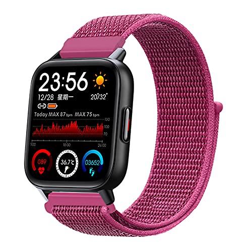[2021年 スマートウォッチ 腕時計 バッテリー 長持ち 多機能 防水 Bluetooth 1.69インチ 大画面 スクリーン 万歩計 長座防止 ナイロンベルト ブラックケース (ドラゴンフルーツ)