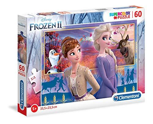 Clementoni 26056 Clementoni-26056-Supercolor Disney Frozen 2-60 Teile, Puzzle für Kinder, Mehrfarben