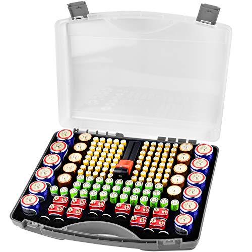 COMECASE Batterie Aufbewahrungsbox Tragetasche Batteriebo, Batterie Garage Container passt für 180 + AA AAA 9V C D Lithium 3V A23 CR 2032, CR 2016, CR 1632, CR 2025 und 1.5V Knopfzelle (Grau)