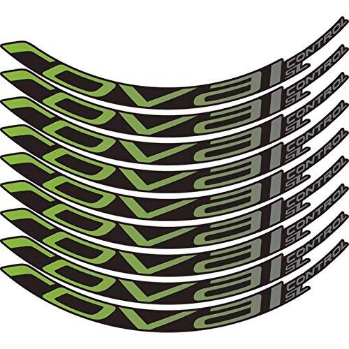 Pegatinas de bicicleta Bicicleta de montaña Control Roval SL29 pulgadas 25 mm Ancho Ancho Conjunto de ruedas Color Pegatina MTB Calcomanías de RIM (Color : Green gradient)