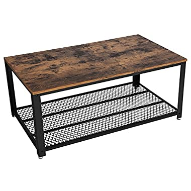 SONGMICS Vintage Coffee Table, Cocktail Table with Storage Shelf for Living Room, Wood Look Accent Furniture with Metal Frame, Easy Assembly ULCT61X