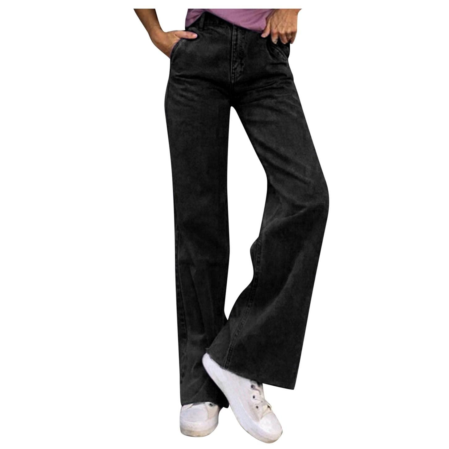 Padaleks Women's Stylish Flare Jeans High Waist Wide Leg Straight Demin Pants Casual Trousers Fashion Streetwear