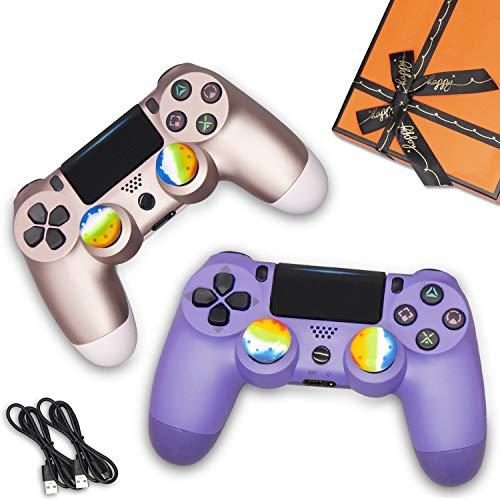U/C 2 Pack Wireless Controller für PS4, Fernbedienung für Sony PlayStation 4 mit Doppelschock, Geschenk für Freund, Freundin, Kinder und Freunde, Rotgold + Elektronische Lila