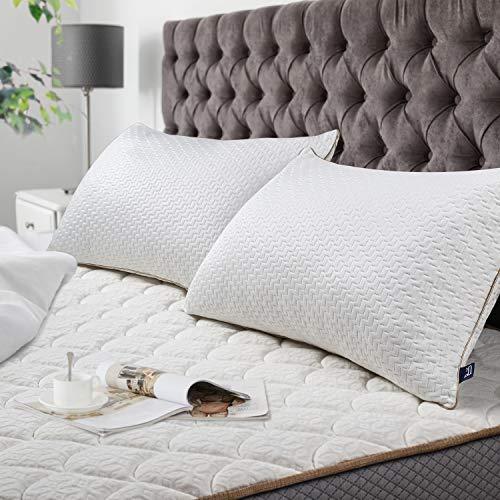 BedStory Cuscini Letto Coppia 42x70, Cuscino Bamboo Antibatterico, Federa con Cerniera Lavabile in Lavatrice, Imbottitura di qualità Premium, Adatto per Dormire in Tutte Le Posizioni