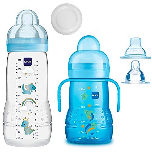 MAM Baby Bottle Smart Set pour bébé à partir de 4 mois Easy Active Biberon 330 ml avec tétine taille 2 et tétine Mam Trainer taille 4 anti-gouttes et bec verseur souple