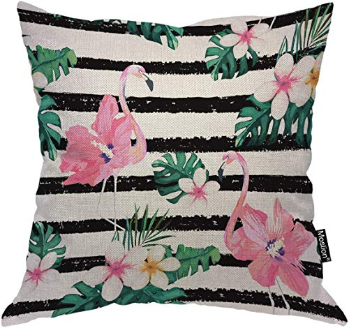 Fodera per cuscino fenicottero Uccelli Fenicotteri rosa Fiore Foglie di palma verdi in strisce bianche nere Fodera per cuscino Cuscino quadrato decorativo Accento in cotone e lino per poltrona