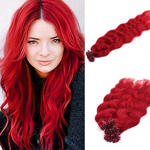 Vlasy 20inch 25g/lot U Tip Hair Extensions Human Hair Extensions Curly Fusion Hair Red Hair Extensions(Red#)