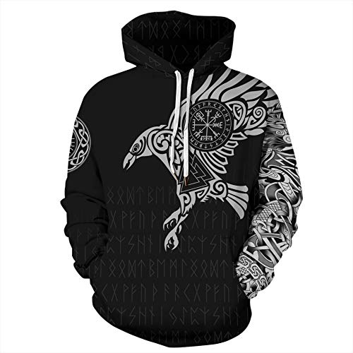 PZJ Unisex Viking Kapuzenpullover Hoodie 3D Gedruckt Streetwear Sweatshirt Wikinger Walhalla Geschenk Stil02 X-Large