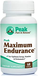 Peak Pure & Natural, Peak Maximum Endurance Supplement for Men   Nitric Oxide Booster and Hormone Balance  Workout Longer, Recover Faster with Improved Oxygen Utilization