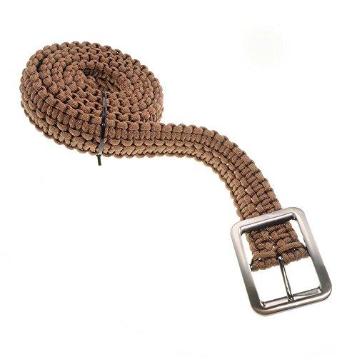 Paracord-ceinture en indéchirable, vissé en paracorde 550 avec boucle de ceinture, ceinture de pantalon, ceinture, solide, cordon universel ceinture-couleur : marron-ganzoo