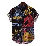 JJZSL Hombre De Algodón Lino Étnico Manga Corta Casual Impresión Suelta T Hawaiian Shirt Blusa Beachwear Hip Hop Buttons Camisas Ropa De Los Hombres (Color : A, Size : L code)