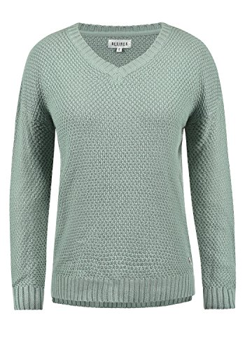 DESIRES Ina Damen Strickpullover Feinstrick mit V-Ausschnitt aus hochwertiger Baumwollmischung, Größe:S, Farbe:Slate Grey (3579)