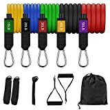 LAPACKER Resistance Bands Set- Exercise Bands with Handles, Door Anchor, Ankle Straps, Carry Bag- Fitness Bands Resistance for Men Women Home Workout -Stackable up to 155 lb