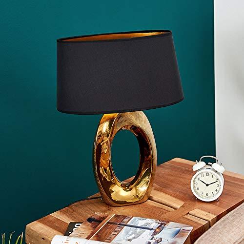 Lindby Tischlampe 'Quina' (Modern) in Gold/Messing aus Keramik u.a. für Schlafzimmer (1 flammig, E27, A++) - Textil Tischleuchte, Schreibtischlampe, Nachttischlampe, Schlafzimmerleuchte