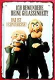 Tin Sign Blechschild 20x30 Muppets Waldorf & Statler Bar Spruch Meine Gelassenheit ist Desinteresse