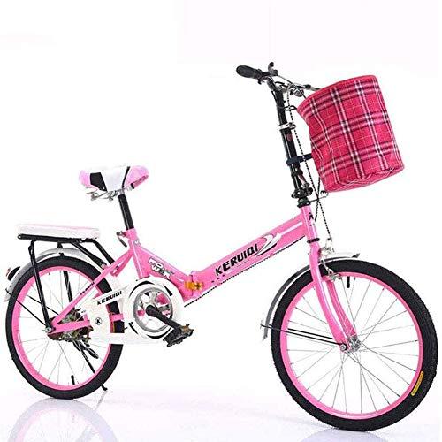 Con Frenos Delanteros Y Traseros,Altura Ajustable Bicicleta De Confort Para Los Jinetes Principiantes,Con Cesta Y Asiento Trasero,Mujeres Viajero Bicicleta Plegable,Velocidad única Bicicleta-Rosa 20in