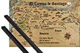 1art1 Way of St. James Poster (36x24 Inches) El Camino De Santiago Anno 1445, Jon Mellenthin and 1 Set of Black Poster Hangers