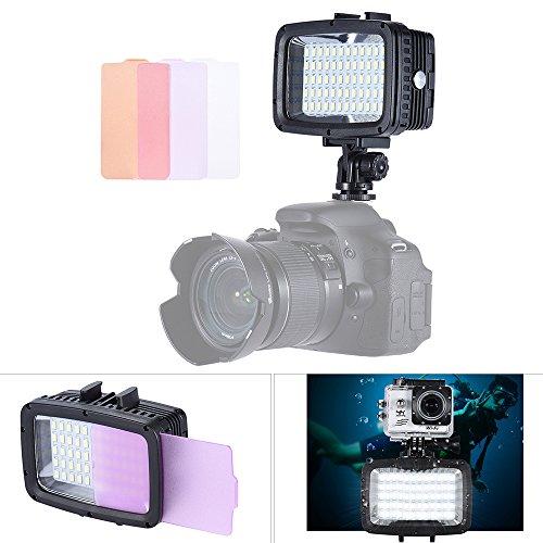 Andoer Luz de Subacuática LED, 5500K 1800LM 60LED Luz con zapata + 3 películas de luz Suave Adecuadas para la cámara de acción GoPro Hero Xiaomi Yi SJCAM, cámara Canon Nikon Sony SLR