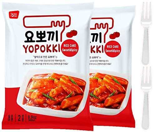 Tteokbokki Korean Rice Cake Instant (Pack of 2, Spicy & Sweet Sauce) Korean Snack Tteok Tteokbokki Rice Cake 떡볶이