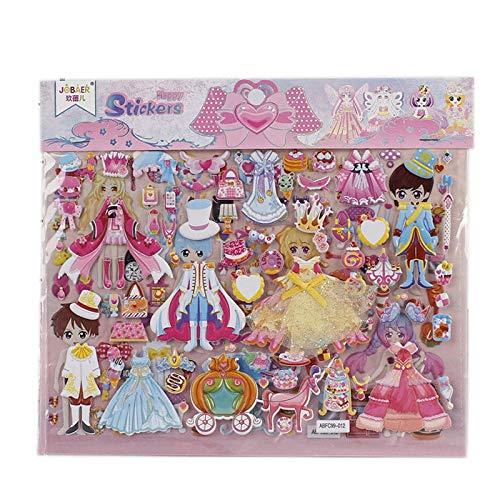 PMSMT 2 uds DIY Doble Capa Linda Princesa Vestir Pegatina para Diario teléfono portátil Libro niños Anime Kawaii Pegatinas de Burbujas Juguetes para niñas