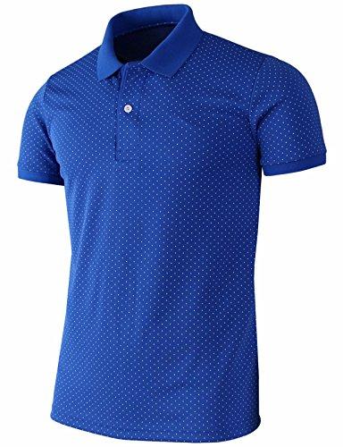 Bcpolo Men's Polo Shirt Casual Short Sleeves Polka Dots Pattern Golf Polo Shirt Cobalt-M (Asia-XL)