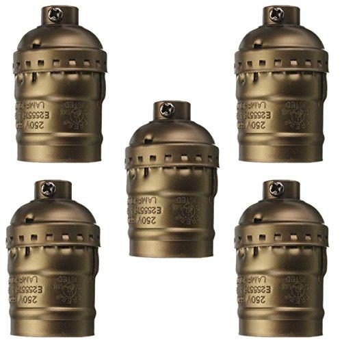 5pcs Vintage Aluminium Lamp Holder, Motent Industrial Retro Solid Metal Shell Socket without Switch, US Standard E26 Edison Medium Screw Bulb Base, 33mm Dia for Pendant Light Wall Lamp - Bronze