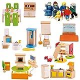 Hape International Puppenhausmöbel Set XXL aus Holz mit extra Biegepuppen