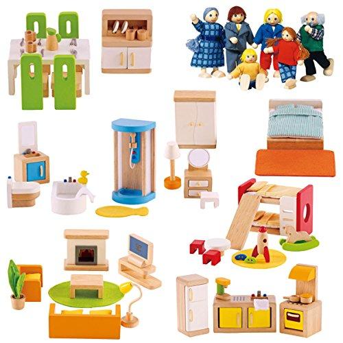 Puppenhausmöbel Set XXL aus Holz mit extra Biegepuppen