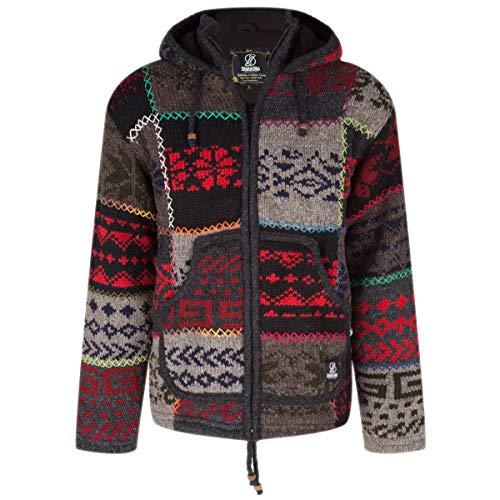 SHAKALOHA - Top kwaliteit gekleurd patchwork wollen vest mannen - M Patch NH Happy Heren/Unisex - gebreid fleece gevoerd vest uit Nepal. 4-seizoenen jack met kruissteken en blokken.
