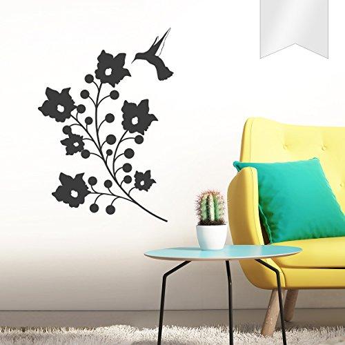 WANDKINGS Wandtattoo - Blumen mit Kolibri - 63 x 90 cm - Milchglasfolie - Wähle aus 5 Größen & 35 Farben