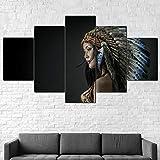 QWRTU Cuadro sobre Lienzo - 5 Piezas XXL- Impresión En Lienzo - Nativa Americana Chica India Belleza Cuadro De Pintura Póster De Arte Moderno Oficina Sala De Estar O Dormitorio Decoración 150X80CM