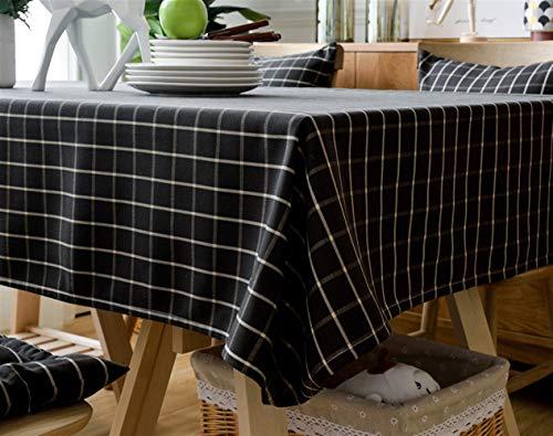 Insun Mantel de Mesa Antimanchas para Tabla de Cena de la Familia Lavable Mantel de Comedor Negro 120x170cm Rectangular